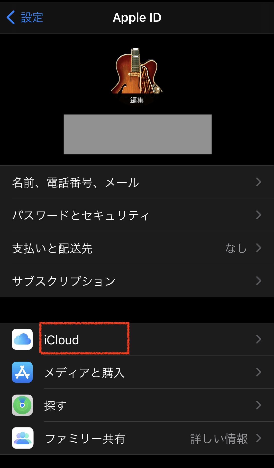項目から「iCloud」をタップ